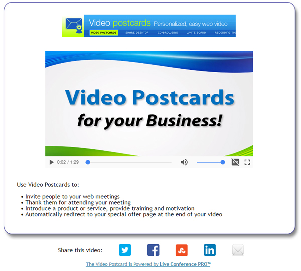 Video Postcards and Video Email